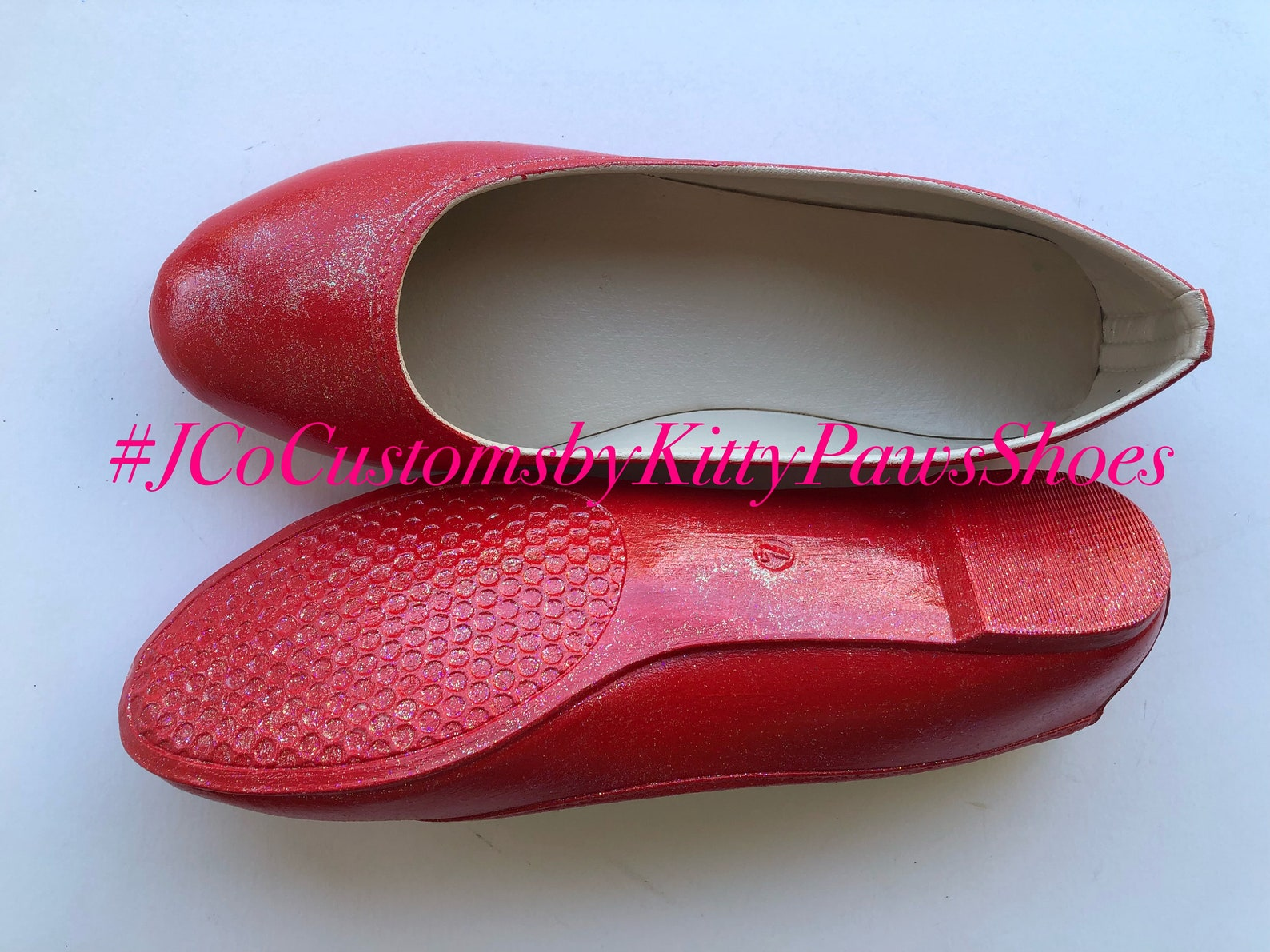 red flats women's custom ruby red shimmery bridal ballet flats *free u.s. shipping* jco.customs by kitty paws shoes