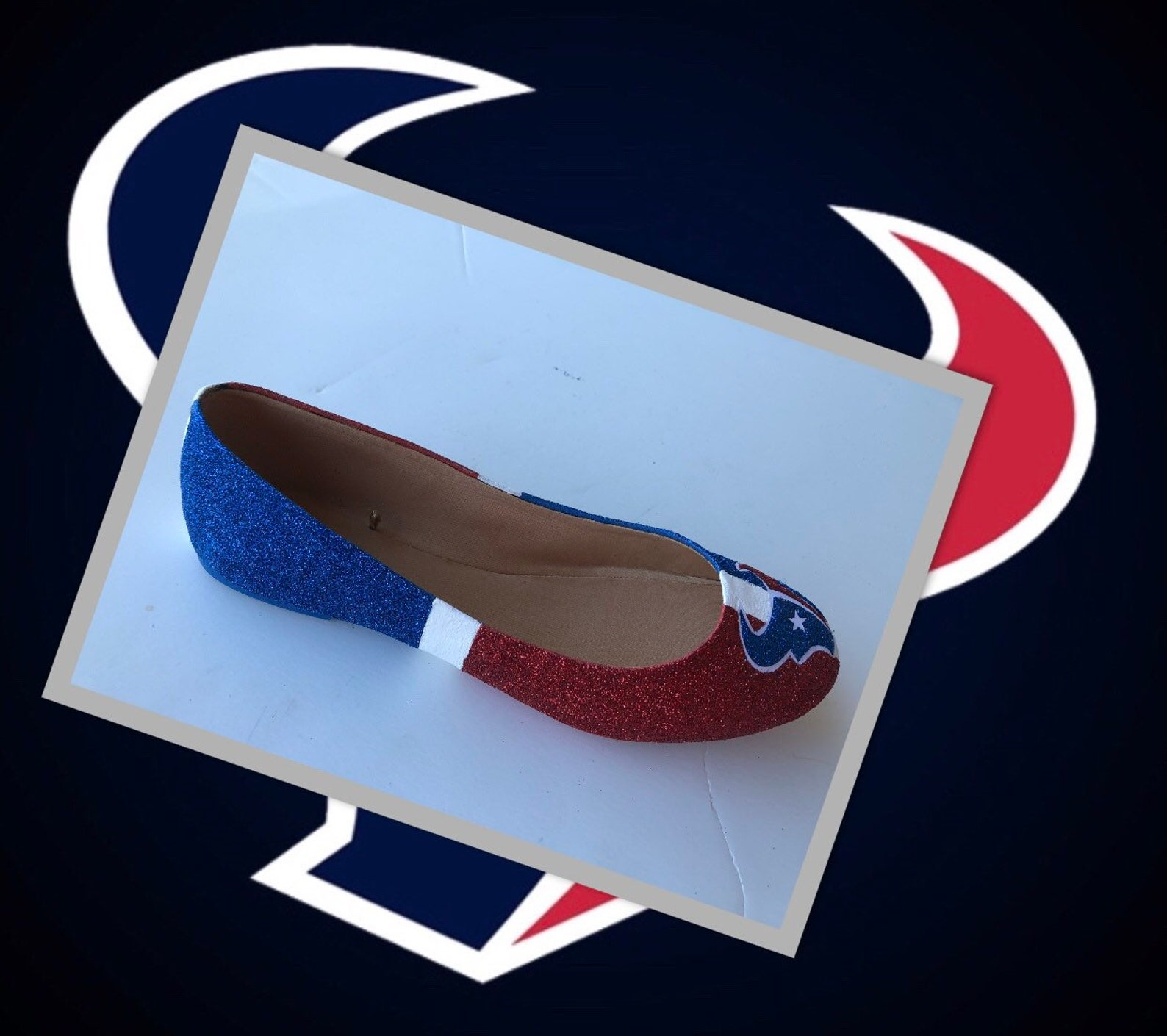 houston texans women's custom football ruby red royal blue white glittered ballet flats *free u.s. shipping* jco.customs by