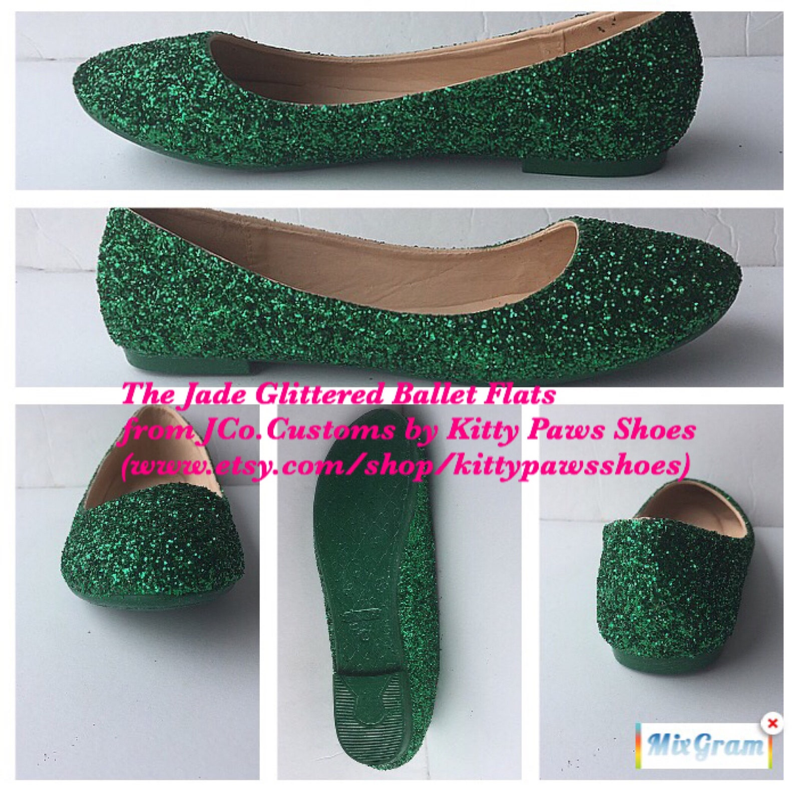 bridal ballet flats emerald green glitter w/ emerald green sparkled bottoms *free u.s. shipping* jco.customs by kitty paws shoes