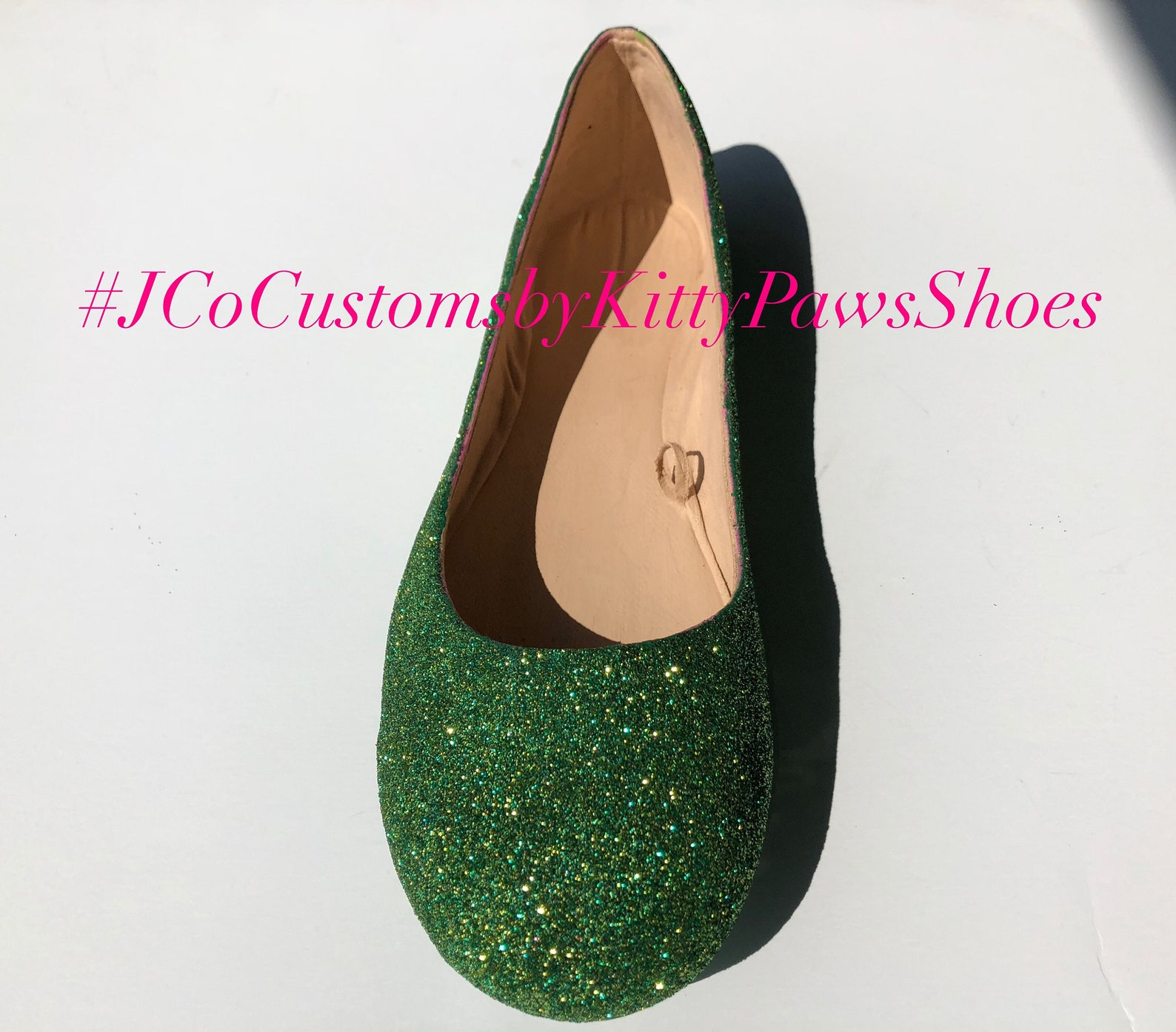 bridal ballet green flats custom women's emerald &gold glitter flats w/shimmer bottoms *free u.s. shipping* jco.customs by k