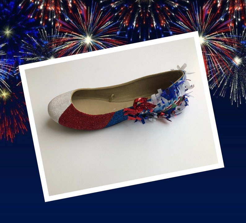 Fourth of July Women/'s Custom Red White /& Blue Firecracker Glitter Flats *Free U.S Shipping* JCo.Customs by Kitty Paws Shoes