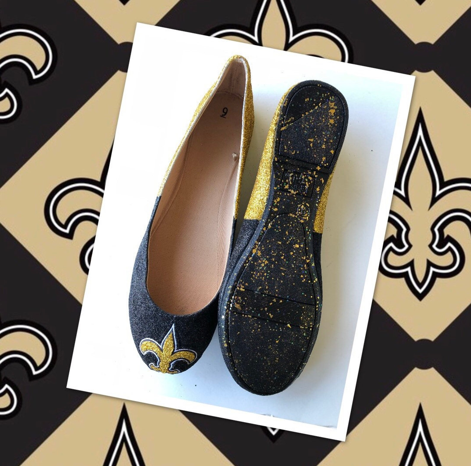 saints flats custom women's new orleans gold and black glitter fan ballet shoes *free u.s. shipping* jco.customs by kitty pa
