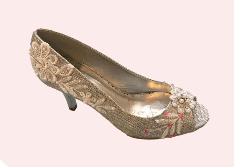 46df9de001b Wedding shoes silver metallic peep toe high heels bridal shoes