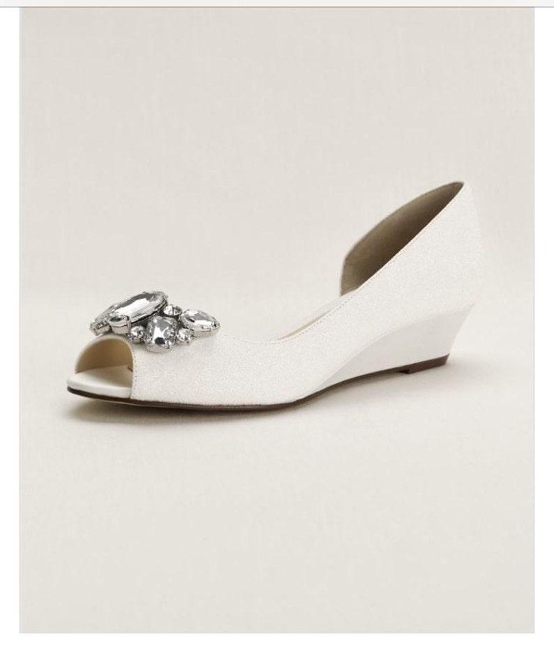 39e69bbe595 Crystal Peep Toe Wedge, White wedding wedges, bridal shoes