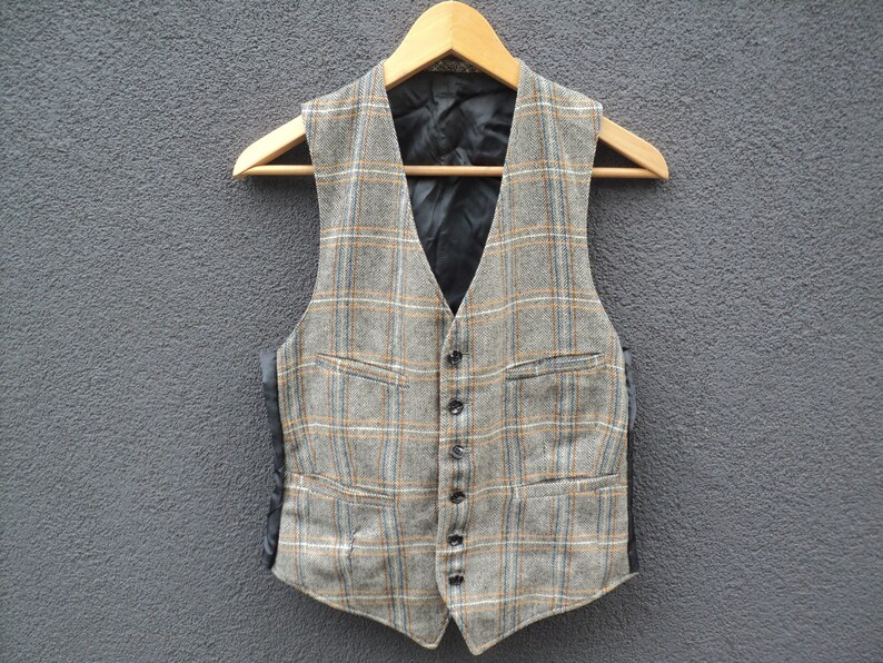 8e5258376c 1950s Glen Plaid Tweed Vest / Herringbone Tweed Waistcoat / Vintage Wedding  / Size XS / Extra Small / 50s Vintage Mens Vest