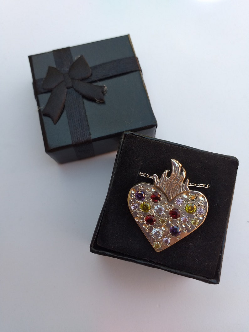 Solid Sacred Heart with multicolored zircons Trap heart Heart tattoos Big solid heart choker with multicolored stones
