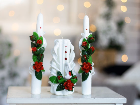 White /& Red GORGEOUS CARVED Wedding Unity Candle SET SALE!
