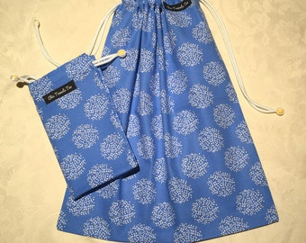 1x light blue and yellow Paisley pattern Shoe bag