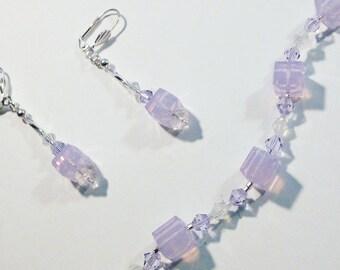 Swarovski Crystals - Opaque Pink Cubes - Bracelet and Earring Set