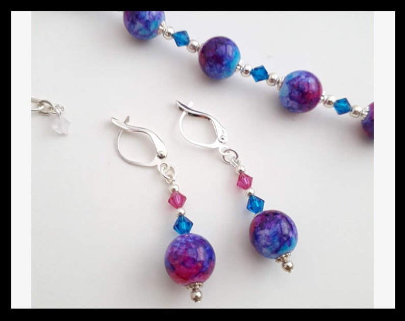 and Blue Colored Glass Bead Necklace Purple Fushcia Bracelet and Earring Set with Crystal and Silver Accents- Great Jewelry Gift!