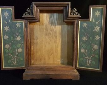 Antique French Wooden Cabinet/ European Retablo / Altar