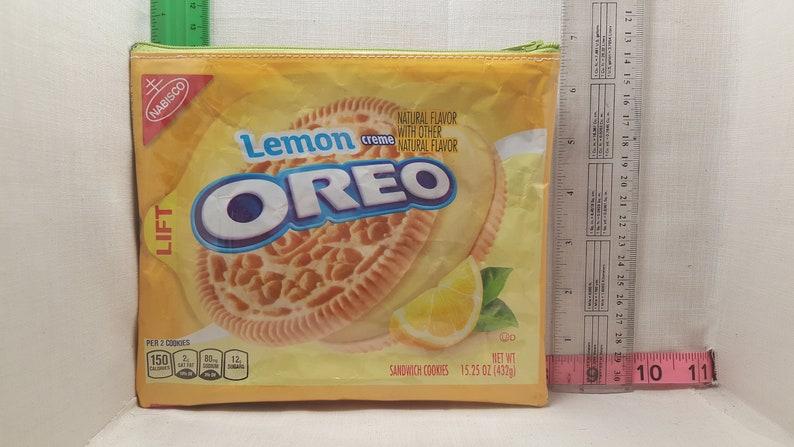 Lemon Oreo upcycled zipper bag