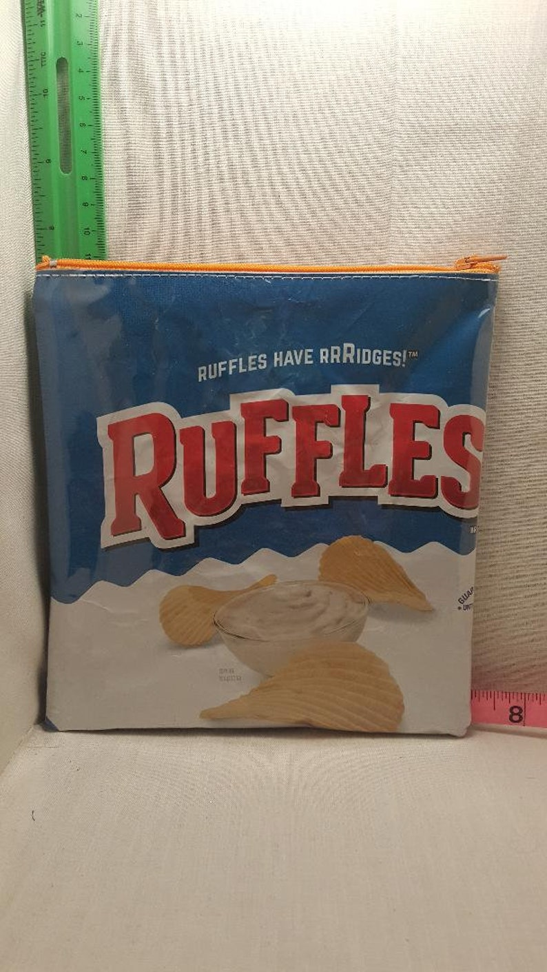 Ruffles up cycled zipper bag