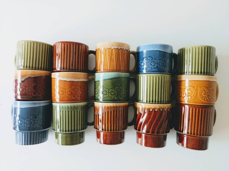 Vintage Japanese stackable mugs Asian drip glaze stacking cups image 0