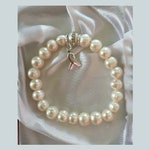 Stunning Baroque Pearl and Sterling Silver Lung Cancer Awareness Bracelet