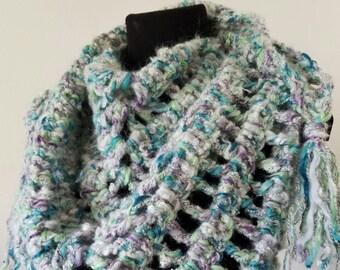 Shawl, shawlette, triangle scarf, mermaid scarf, mermaid shawl, wool shawl, crochet shawl scarf, mohair shawl, wool scarf, mohair scarf