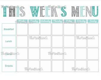 weekly menu planner etsy