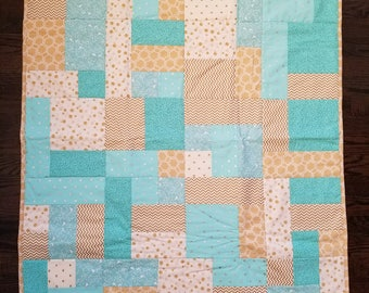 Blue and Gold Yellow Brick Road Quilt