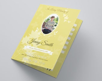Blossom Funeral Program Brochure PSD Template | Instant Download