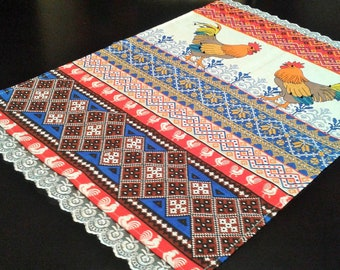 """NEW French Country ROOSTER Tapestry TABLE RUNNER 13/"""" X 72/""""  Blue Gold Red FARM"""