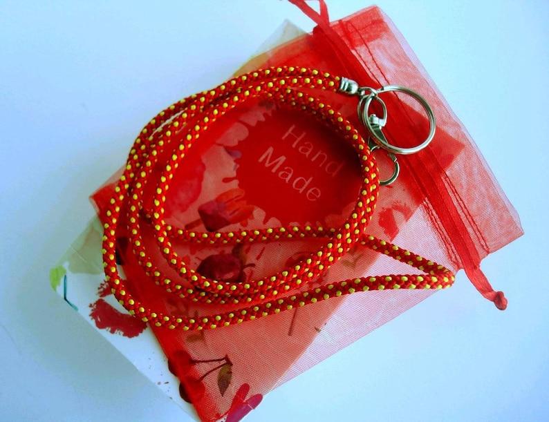 Braided kumihimo ID lanyard Colorful teacher lanyard Key lanyard Teacher gift ideas Gift under 25 Gift for friend Boho style Graduation gift