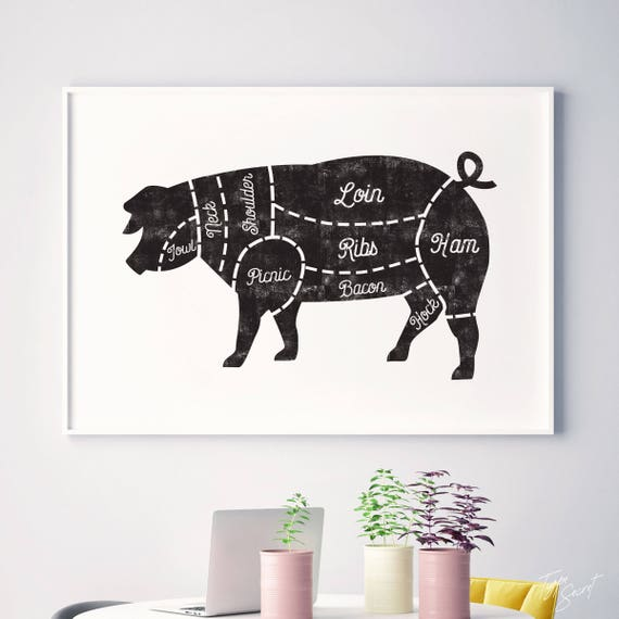 Butcher Chart Kitchen Art Butcher Prints Pig Butcher Chart Etsy