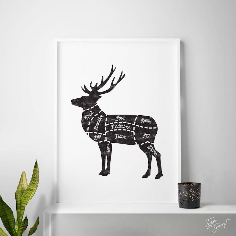 butcher cuts diagram, cuts of meat art, deer cuts, butcher cuts, deer, butcher print, deer print, butcher diagram, deer diagram, farmhouse Diagram Of Moose Cuts butcher poster venison deer cuts