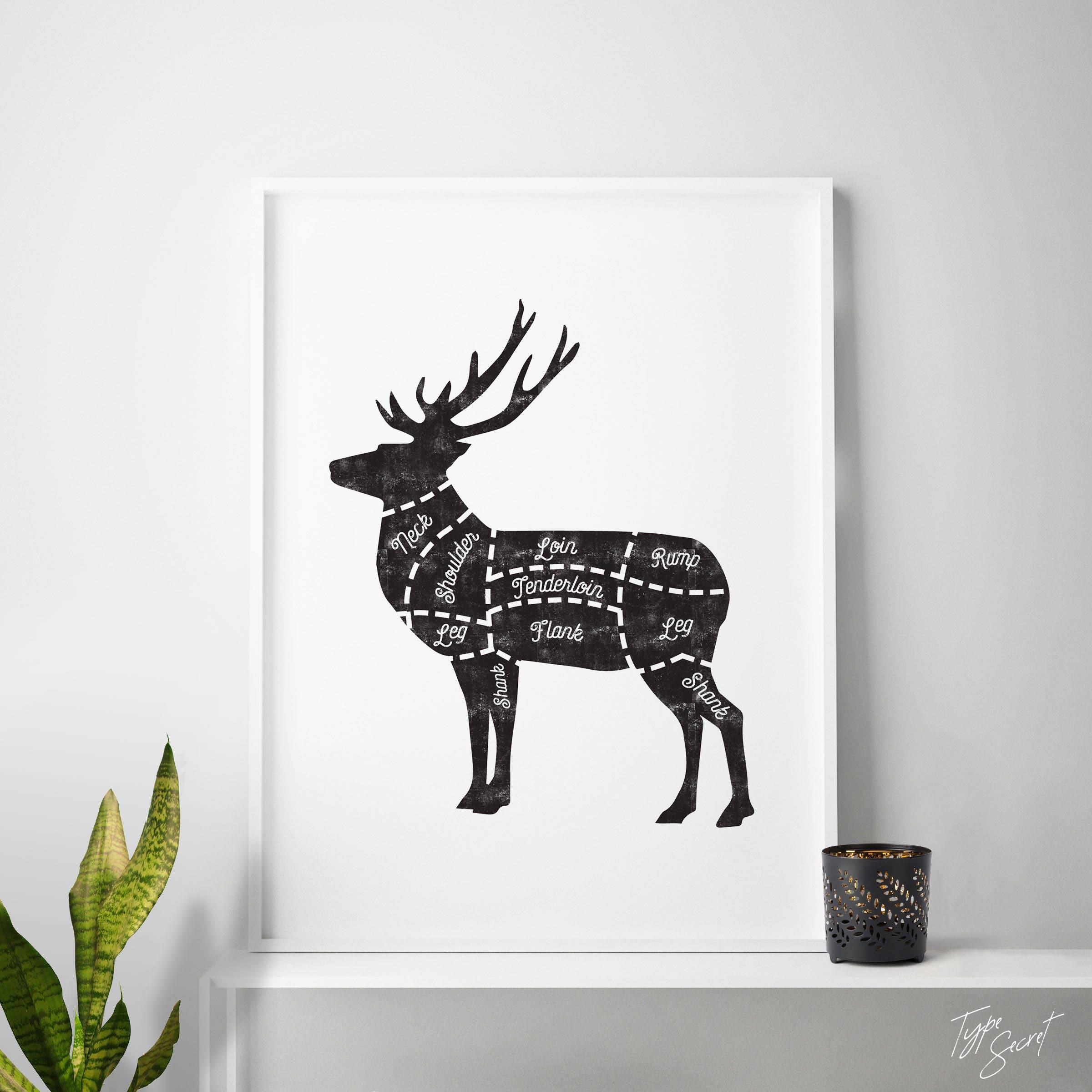 Butcher Cuts Diagram Of Meat Art Deer Etsy