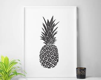 Black and white pineapple print, pineapple art, pineapple photo, tropical print, tropical art, tropical decor, summer print, summer art