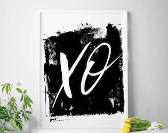 Printable art XO print typography art xo art hugs and kisses xo wall art XO wall prints downloadable art