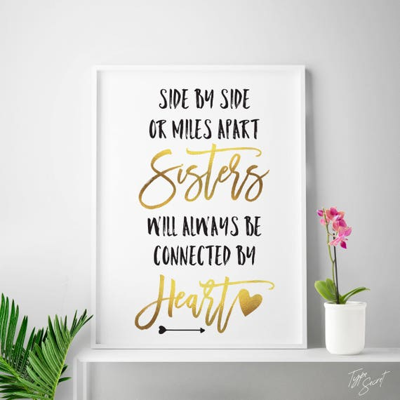 Gift for sister, big sister gift, sister quote, sister quotes, sister  printable, sister love, sisters quote print, gold art, little sister