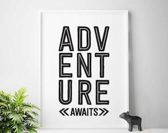 Adventure Awaits, nursery decor, children's printable art, black and white nursery prints, nursery, baby boy, adventure nursery, boys art