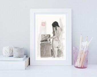 Listening to Records - Giclée Art Print