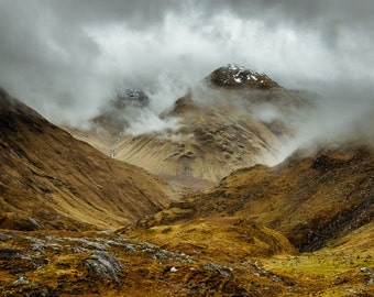Mountain in the Clouds, Scotland, Glen Affric Landscape Photograph