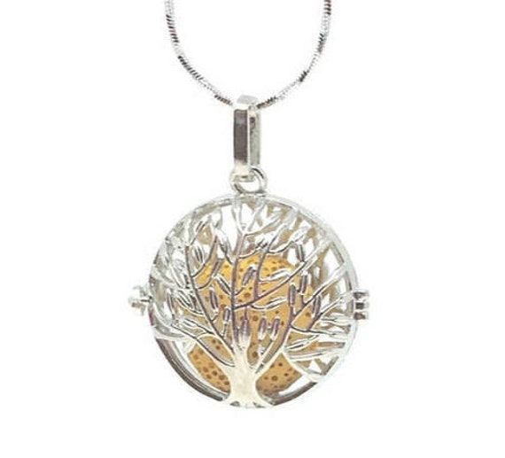 Essential Oil diffuser Necklace, Tree of life, diffuser locket, essential oil locket, lava bead necklace