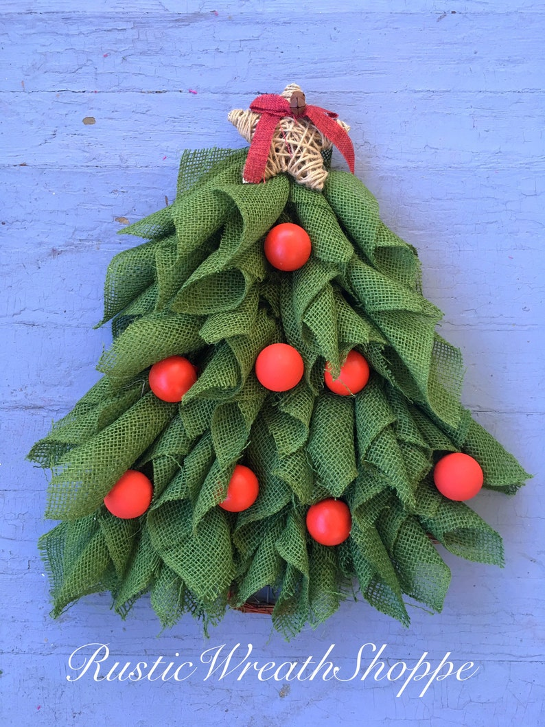 Christmas Tree Wreath Christmas Tree Door Hanger Christmas Etsy