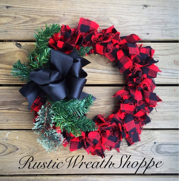 Buffalo Check Christmas Wreath.Red And Black Buffalo Check Christmas Wreath For Front Door