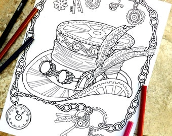 Steampunk Coloring Page Pages Top Hat Mechanical Feather Chains Keys Watch Ladybug