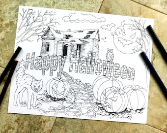 Halloween Coloring Pages Happy Fall Books Scary Cats Pumpkins Haunted House Bats Ghosts Freeky Abandoned