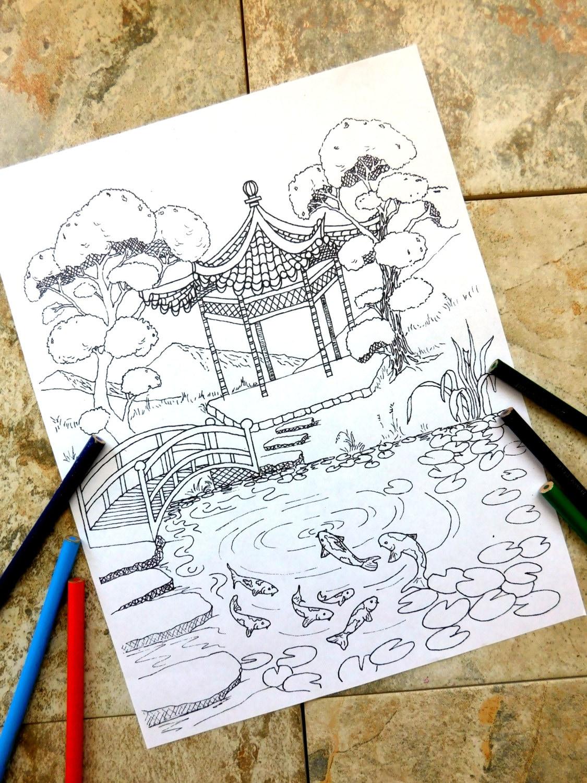 Pagoda peces koi colorear páginas Laguna naturaleza | Etsy