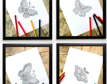 butterflies, coloring book, set of four, printable coloring, butterfly, pages for coloring, coloring pages