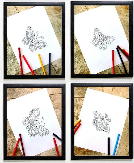 mariposas libro conjunto de cuatro mariposas para colorear | Etsy
