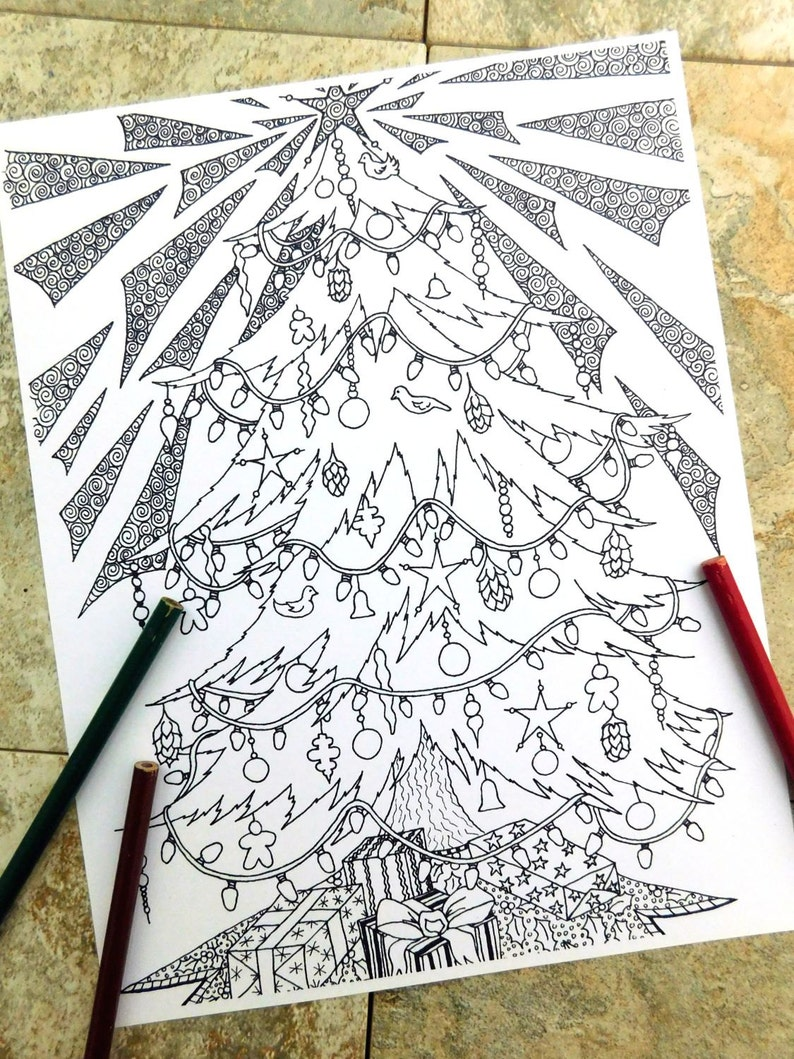 Christmas tree, coloring page, presents, printable coloring pages, ornaments, douglas fir, holiday tree, tree decorations, holiday spirit