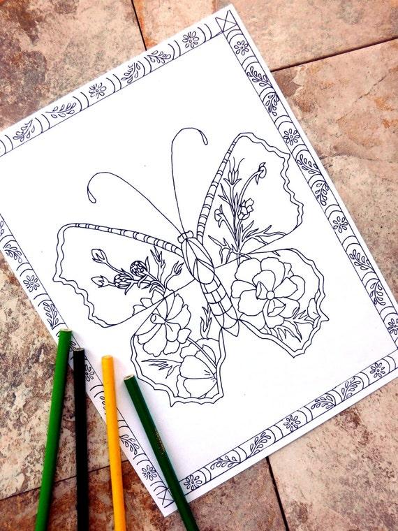 Mariposa colorear páginas página para colorear de flores | Etsy
