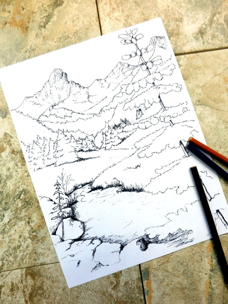 Berge Färbung Seiten Wildnis Malvorlagen Malvorlagen Ausmalbilder Zum Ausdrucken Rasen Fichte Kiefer Seite Wildhorse Natur Camping