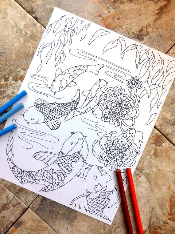 Fisch Coloring Seite Färbung Seiten Koi Malvorlagen