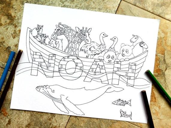 Noah Malvorlagen Bogen Biblische Tiere Bibel Ozean Etsy