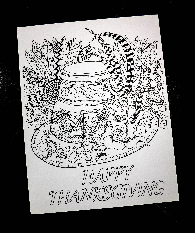 Thanksgiving coloring pages pilgrim hat zendoodle flowers | Etsy