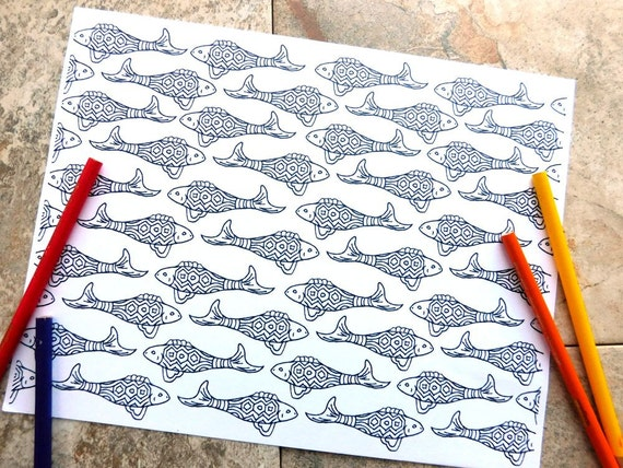 Peces colorear para imprimir para colorear página del patrón | Etsy