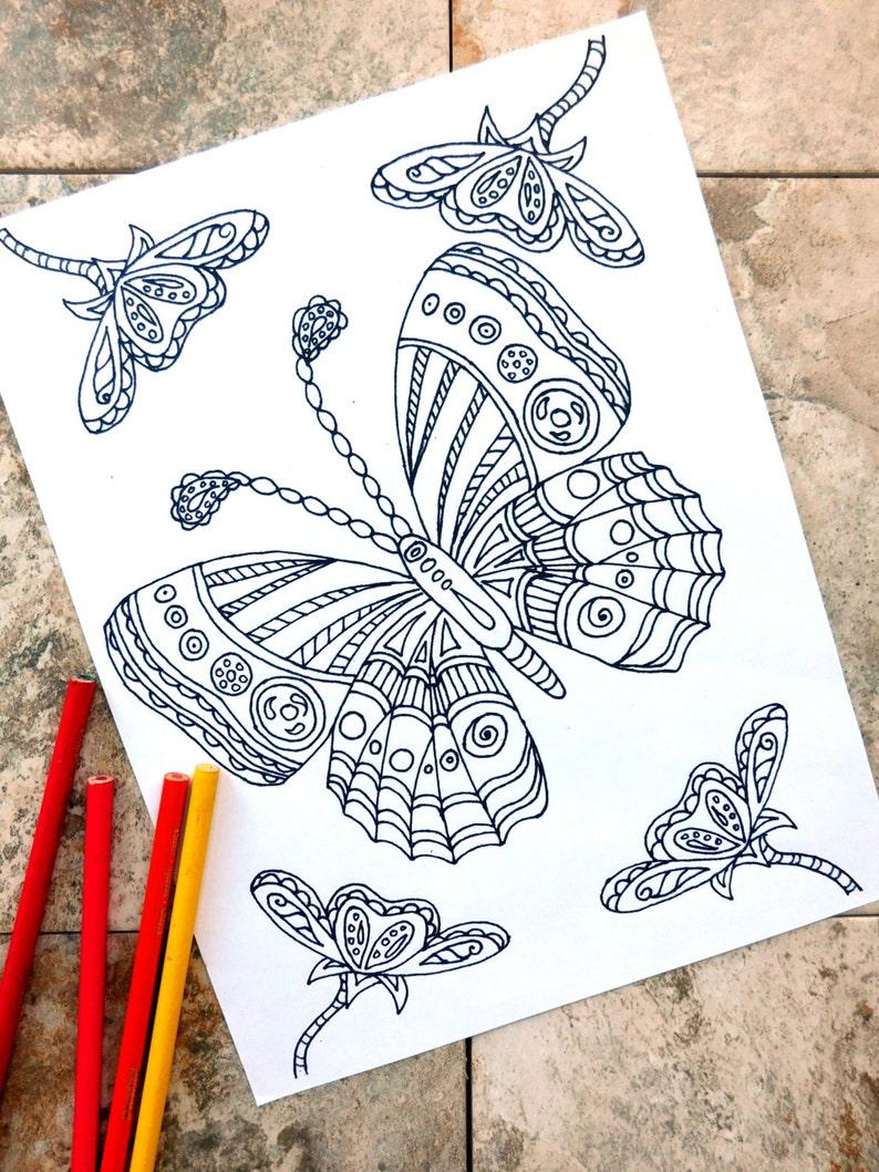 Schmetterling Ausmalbilder Malvorlagen Blume Coloring Seite Anemone Blume Garten Frühling Blumenbeet Wellness Natur Insekt
